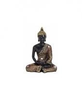 Decoratie boeddha beeld zwart goud 11 cm 10079680
