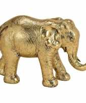 Decoratie dieren beeld olifant goud 18 cm