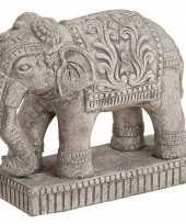 Decoratie dieren beeld olifant grijs 27 cm