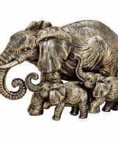 Decoratie dieren beeld olifanten goud 13 cm