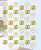 Decoratie hangslingers goud 50 jaar