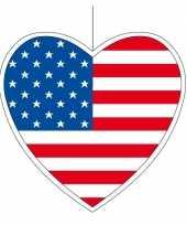 Decoratie hart met amerikaanse vlag 30 cm