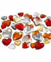 Decoratie hartjes strass steentjes rood mix 720 stuks