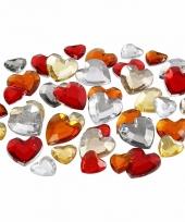 Decoratie hartjes strass steentjes rood mix