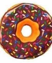 Decoratie kussentje donut bruin 38 cm