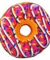 Decoratie kussentje donut roze 38 cm