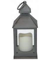 Decoratie lantaarn grijs met led lamp 24 cm