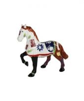 Decoratie paard spaarpot wit bruin