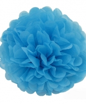 Decoratie pompom turquoise 35 cm 10072158