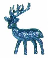 Decoratie rendier turkoois blauw 10 cm