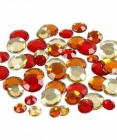 Decoratie ronde strass steentjes rood mix