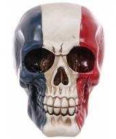Decoratie schedel rood wit blauw