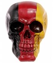 Decoratie schedel zwart rood geel