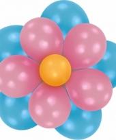 Decoratie setje ballonnen bloem blauw roze