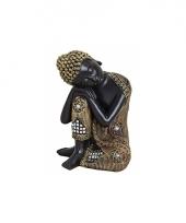 Decoratie slapende boeddha beeld zwart goud 17 cm