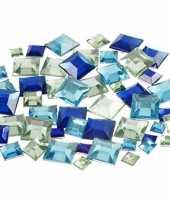 Decoratie vierkante plak diamantjes blauw mix