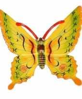 Decoratie vlinder geel 11 cm kunststof