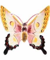 Decoratie vlinder wit geel 11 cm kunststof
