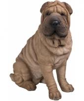 Decoratiebeeld zittende sharpei hond 55 cm