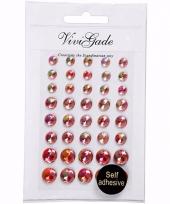 Decoratieve rode parel stickers 40 stuks