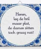 Delfts blauwe teksttegel bril