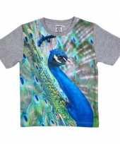 Dieren shirts met fotoprint van pauw voor kinderen
