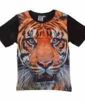 Dieren shirts met fotoprint van tijger voor kinderen