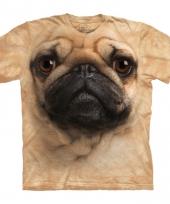 Dieren shirts mopshond bruin kind