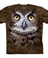 Dieren shirts uil bruin
