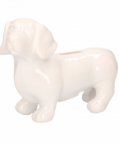 Dieren spaarpot witte teckel hond 20 cm