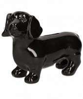 Dieren spaarpot zwarte teckel hond 20 cm