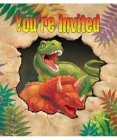 Dinosaurus feest uitnodigingen 8 stuks