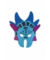 Dinosaurus masker blauw 18 cm stegosaurus