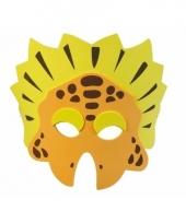 Dinosaurus masker oranje geel 18cm