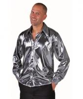 Disco blouse zilver voor heren