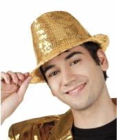 Disco hoed met gouden pailletten