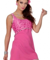 Disco jurkje met franjes roze