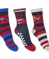Disney cars sokken 3 pak kobalt rood grijs