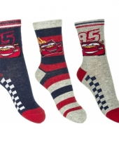 Disney cars sokken 3 pak navy rood grijs