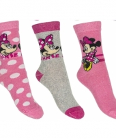 Disney minnie mouse sokken 3 pak lichtroze
