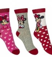 Disney minnie mouse sokken 3 pak rood grijs