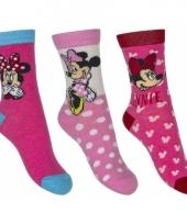 Disney minnie mouse sokken 3 pak roze