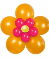 Doe het zelf ballon kit bloem oranje roze