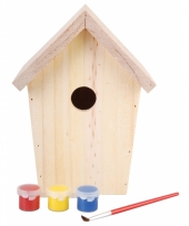 Doe het zelf pakket vogelhuisje met verf 20 cm