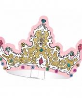 Doe het zelf tiara knutsel setje voor kinderfeestje 6 stuks