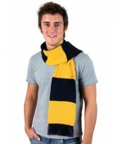 Donkerblauw met goud gestreepte heren sjaal