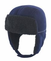 Donkerblauwe jongens winter muts
