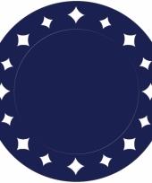Donkerblauwe kartonnen placemats 33 cm
