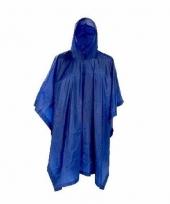Donkerblauwe regenjas poncho voor volwassenen