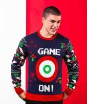 Donkerblauwe trui voor kerst met dartbord